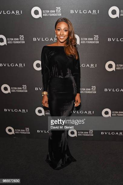 Alexandra Burke attends the Argento Ball for the Elton John AIDS Foundation in association with BVLGARI Bob and Tamar Manoukian on June 27 2018 in...