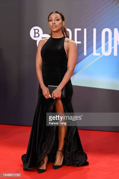 """Alexandra Burke attends the """"King Richard"""" UK Premiere during the 65th BFI London Film Festival at The Royal Festival Hall on October 15, 2021 in..."""