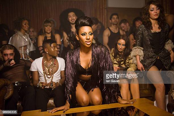 Alexandra Burke behind the scenes at a video shoot for her new single 'All Night Long' featuring Pitbull on March 27 2010 in London England