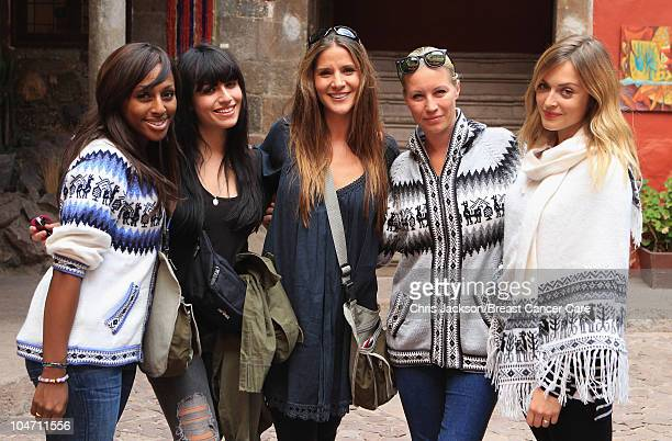 Alexandra Burke Gabriella Cilmi Amanda Byram Denise Van Outen and Fearne Cotton smile as they prepare to meet VIP trekkers in Cusco ahead of Denise...