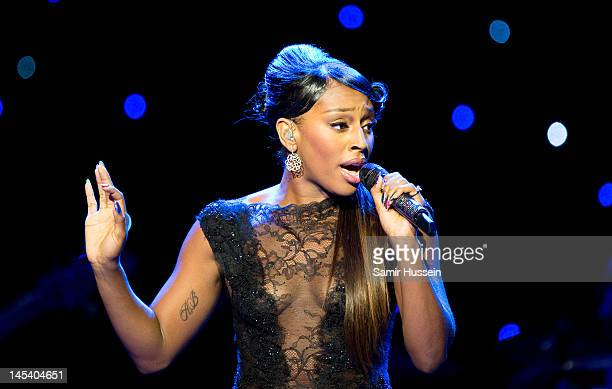 Alexandra Burke performs during the World Hunger Day in Support Of The Hunger Project concert with Dionne Warwick and friends at The Royal Albert...