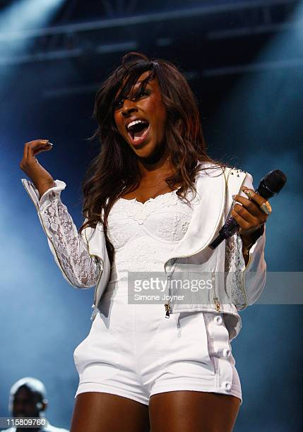 Alexandra Burke performs live on stage at The Big Top stage during day one of the Isle of Wight Festival 2011 at Seaclose Park on June 10 2011 in...