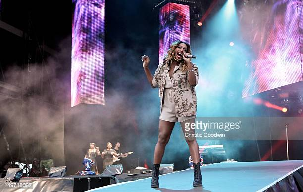 Alexandra Burke performs on stage during BT London Live at Hyde Park on August 2 2012 in London United Kingdom