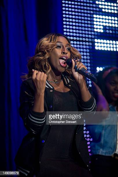 Alexandra Burke performs on stage during Key 103 Live at Manchester Arena on July 22 2012 in Manchester United Kingdom