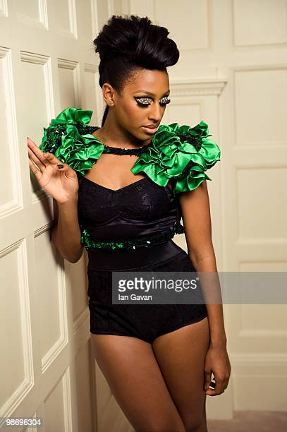 Alexandra Burke poses behind the scenes of a video shoot for her new single 'All Night Long' featuring Pitbull on March 27 2010 in London England