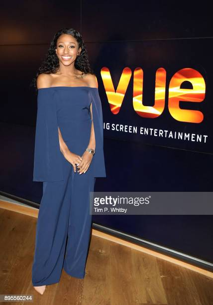 Alexandra Burke poses for a photograph ahead of hosting an advanced fan screening of Pitch Perfect 3 at Vue West End on December 19 2017 in London...