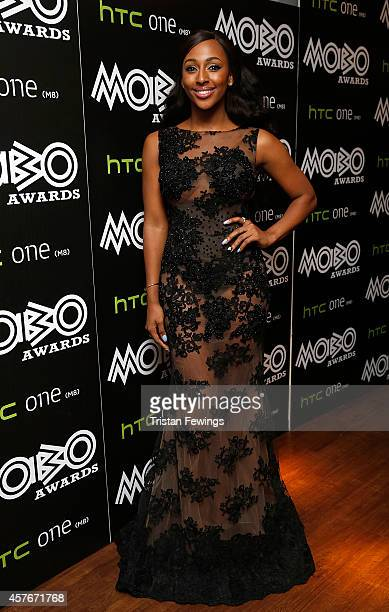 Alexandra Burke poses in the winners room at the MOBO Awards at SSE Arena on October 22 2014 in London England