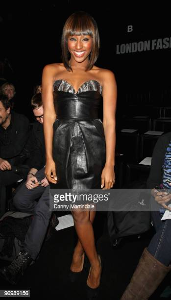 Alexandra Burke poses on the front row at the Issa London show for London Fashion Week Autumn/Winter 2010 at Somerset House on February 23 2010 in...