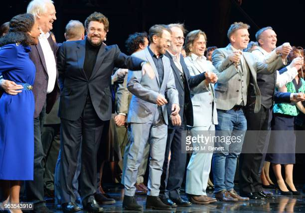 Alexandra Burke Sir Tim Rice Michael Ball Bjorn Ulvaeus Benny Andersson Tim Howar guest conductor John Rigby and Cassidy Janson bow at the curtain...