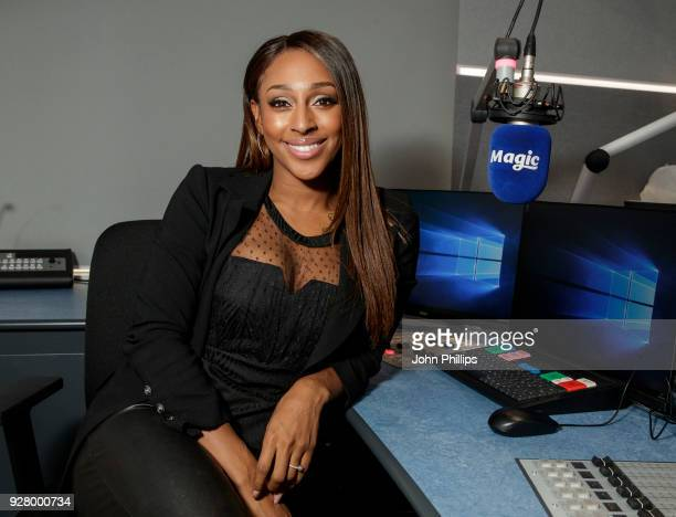 Alexandra Burke visits Magic FM Studio on March 6, 2018 in London, England.