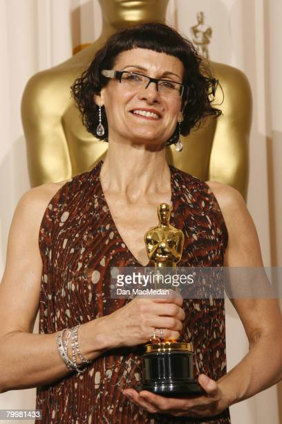 Alexandra Byrne poses with her Oscar for Best Costume Design in the press room during The 80th Annual Academy Awards held at the Kodak Theater on...