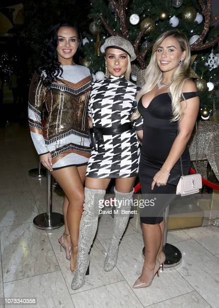 Alexandra Cane Gabby Allen and Ellie Brown attend the Boohoo Christmas party at Hilton Deansgate on December 14 2018 in Manchester England