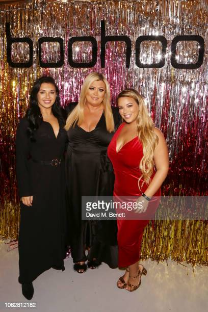 Alexandra Cane Gemma Collins and Savanna Sievers attend the Boohoo at Curve Fashion Festival stand on November 17 2018 in Liverpool England