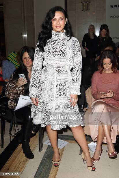 Alexandra Cane in the Front row at the Rocky Star Catwalk Show Autumn Winter 2019 at offschedule London Fashion Week show at the Freemasons Hall