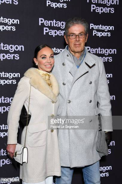 Alexandra Cardinale and Dominique Desseigne attend 'Pentagon Papers' Premiere at Cinema UGC Normandie on January 13 2018 in Paris France