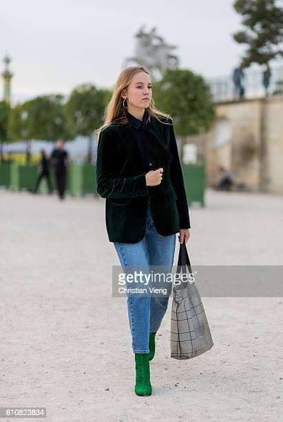 Alexandra Carl wearing a green velvet blazer outside Jacquemus on September 27 2016 in Paris France