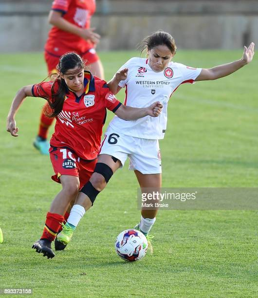 Alexandra Chidiac of Adelaide United competes with Lo'eau LaBonta of Western Sydney Wanderers FC during the round eight WLeague match between...