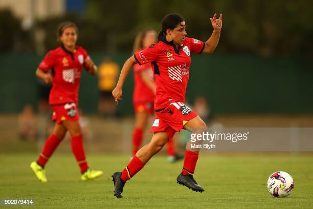 Alexandra Chidiac of Adelaide United kicks the ball during the round 10 WLeague match between Canberra United and Adelaide United at McKellar Park on...