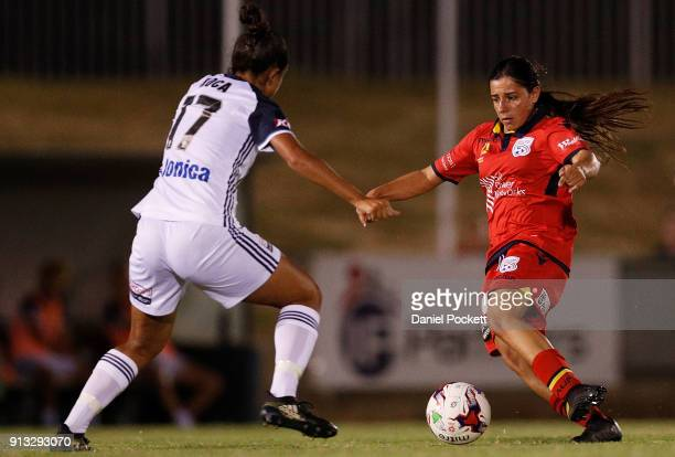 Alexandra Chidiac of Adelaide United runs with the ball during the round 14 WLeague match between Adelaide United and the Melbourne Victory at Marden...