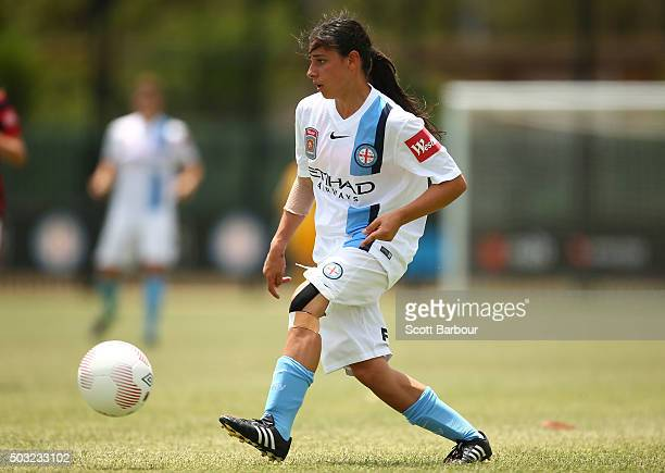 Alexandra Chidiac of City FC contols the ball during the round 12 WLeague match between Melbourne City FC and the Western Sydney Wanderers at CBSmith...