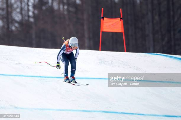 3f4d40a4ae98 Alexandra Coletti of Monaco in action during the Alpine Skiing Ladies   Downhill race at Jeongseon