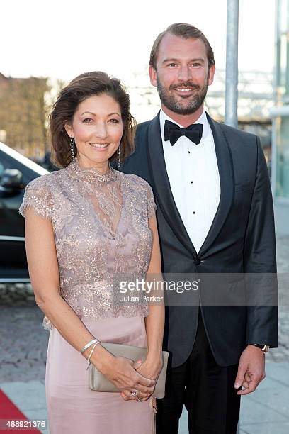 Alexandra Countess of Frederiksborg and husband Martin Jorgensen attend a Gala Night to mark the forthcoming 75th Birthday of Queen Margrethe II of...