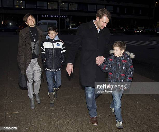 Alexandra Countess Of Frederiksborg With Her Children Prince Nikolai And Prince Felix And Her Husband Martin Jorgensen After Their Visit To Crown...
