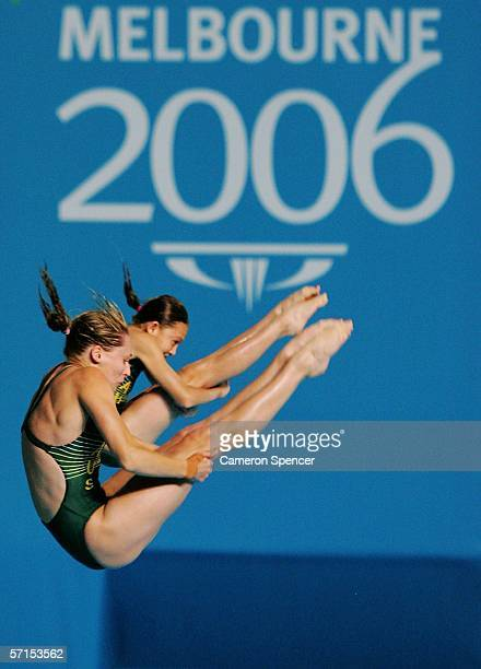 Alexandra Croak and Melissa Wu of Australia compete in the Women's Women's Synchronised 10m Platform FinaL during the diving at the Melbourne Sports...