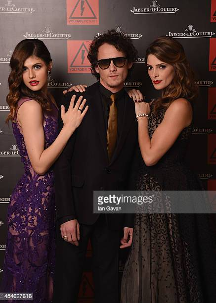 Alexandra Daddario Anton Yelchin and Ashley Greene of 'Burying the Ex' pose for a portrait for JaegerLeCoultre in their festival lounge during the...