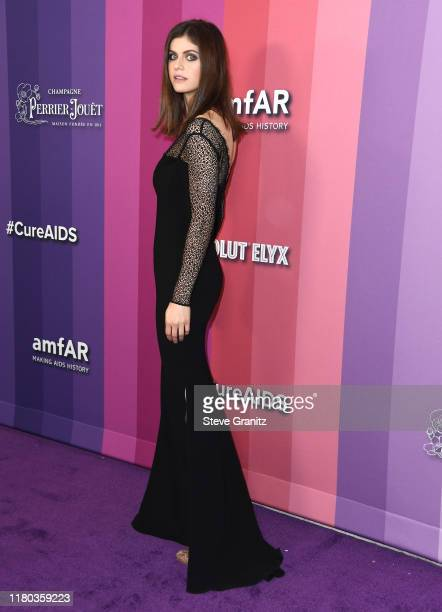 Alexandra Daddario arrives at the amfAR Gala Los Angeles at Milk Studios on October 10, 2019 in Los Angeles, California.