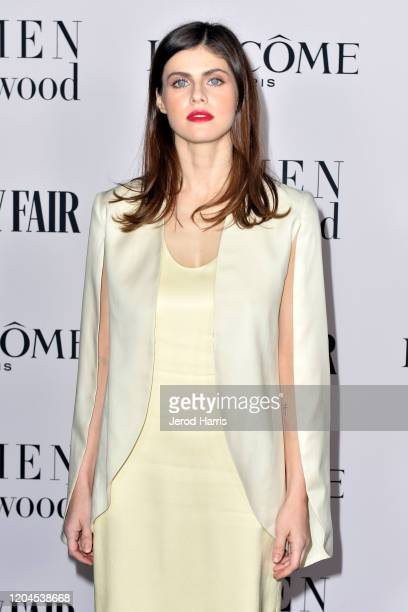 Alexandra Daddario arrives at Vanity Fair and Lancôme Women In Hollywood Celebration at Soho House on February 06 2020 in West Hollywood California