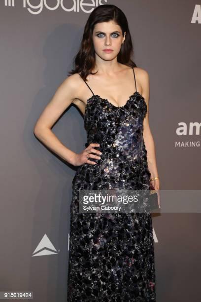 Alexandra Daddario attends 2018 amfAR Gala New York Arrivals at Cipriani Wall Street on February 7 2018 in New York City