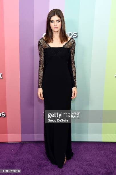 Alexandra Daddario attends the 2019 amfAR Gala Los Angeles at Milk Studios on October 10, 2019 in Los Angeles, California.