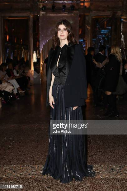 Alexandra Daddario attends the Genny show at Milan Fashion Week Autumn/Winter 2019/20 on February 21 2019 in Milan Italy