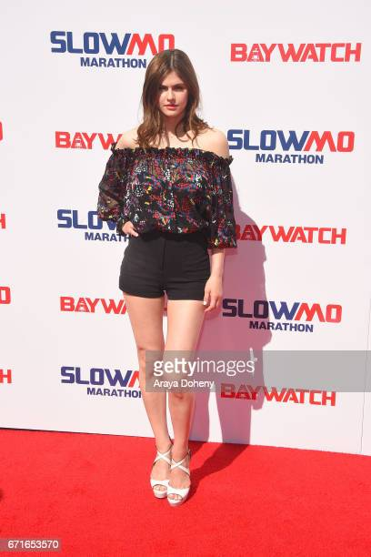 Alexandra Daddario attends the The 'Baywatch' SlowMo Marathon at Microsoft Square on April 22 2017 in Los Angeles California