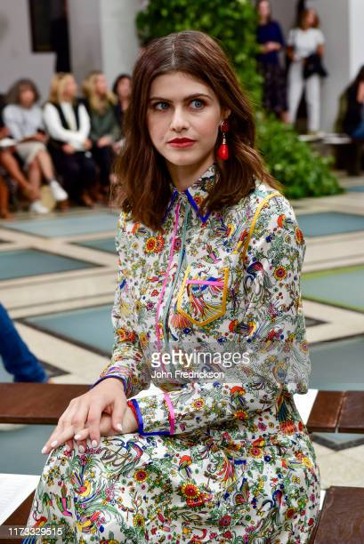 Alexandra Daddario attends the Tory Burch S/S 20 Fashion Show at Brooklyn Museum on September 08 2019 in New York City