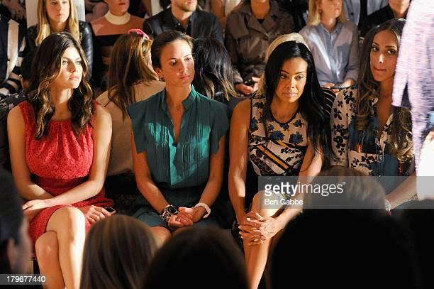 Alexandra Daddario Brandi Garnett and Julie Landrum attend the Peter Som Spring 2014 fashion show during MercedesBenz Fashion Week at Milk Studios on...
