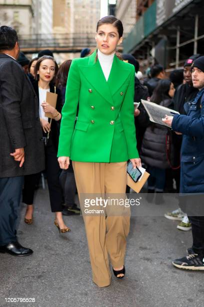 Alexandra Daddario departs the Michael Kors fashion show at the American Stock Exchange on February 12 2020 in New York City