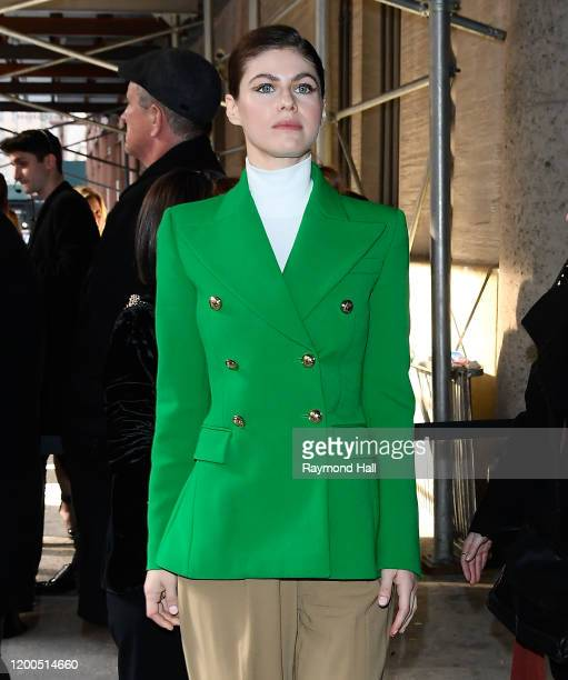 Alexandra Daddario is seen arriving at the Michael Kors show during New York Fashion Week on February 12 2020 in New York City