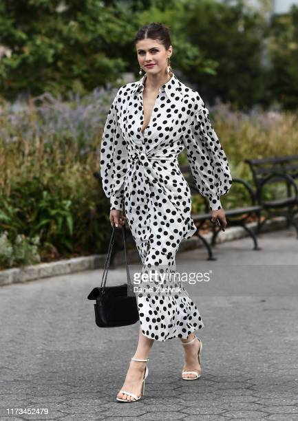 Alexandra Daddario is seen wearing a Carolina Herrera dress outside the Carolina Herrera show during New York Fashion Week S/S20 on September 09,...