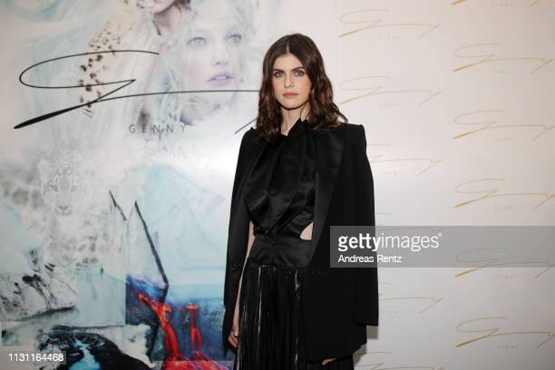 Alexandra Daddario poses backstage ahead of the Genny show at Milan Fashion Week Autumn/Winter 2019/20 on February 21 2019 in Milan Italy