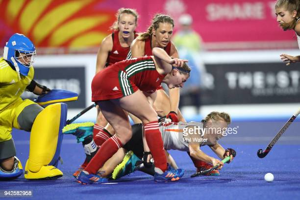 Alexandra Danson of England attempts a shot at goal during their Womens Hockey match between England and Wales on day two of the Gold Coast 2018...