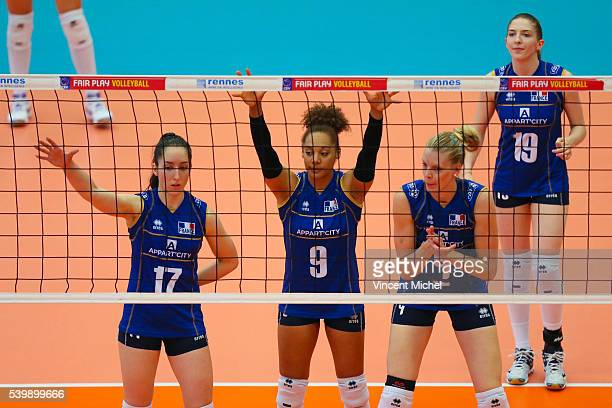Alexandra Dascalu Elisabeth Fedele and Christina Bauer of France during the CEV European League match at Salle Colette Besson on June 11 2016 in...