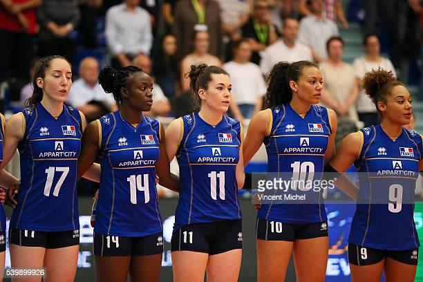 Alexandra Dascalu Mariam Sidibe Clementine Druenne Maeva Orle and Elisabeth Fedele of France during the CEV European League match at Salle Colette...