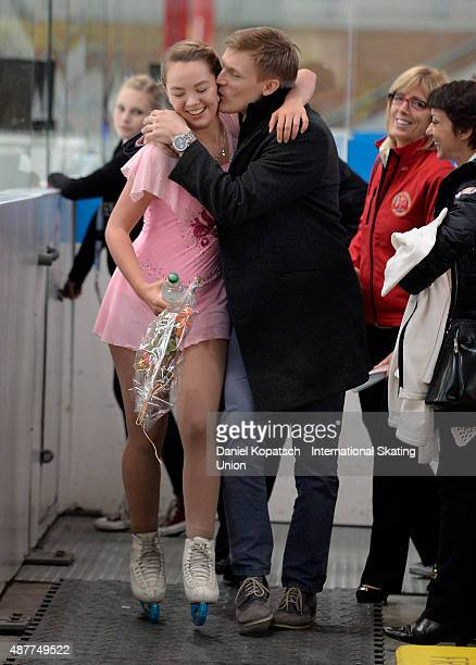 Alexandra de Hanovre reacts with Tomas Verner during the junior ladies free skating of ISU Junior Grand Prix of figure skating on September 11 2015...