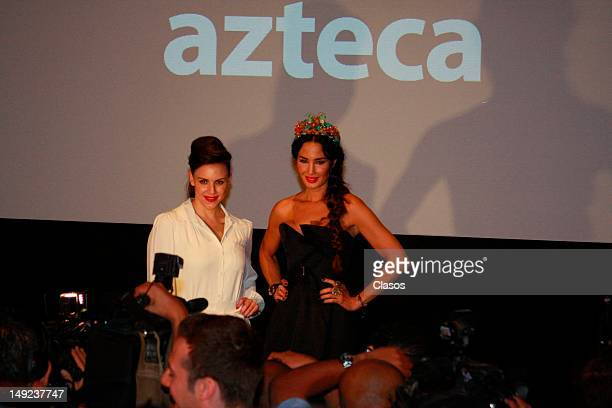 Alexandra de la Mora and Martha Christian participate of the presentation of the videos Azteca London is a series of TV Azteca to present during the...