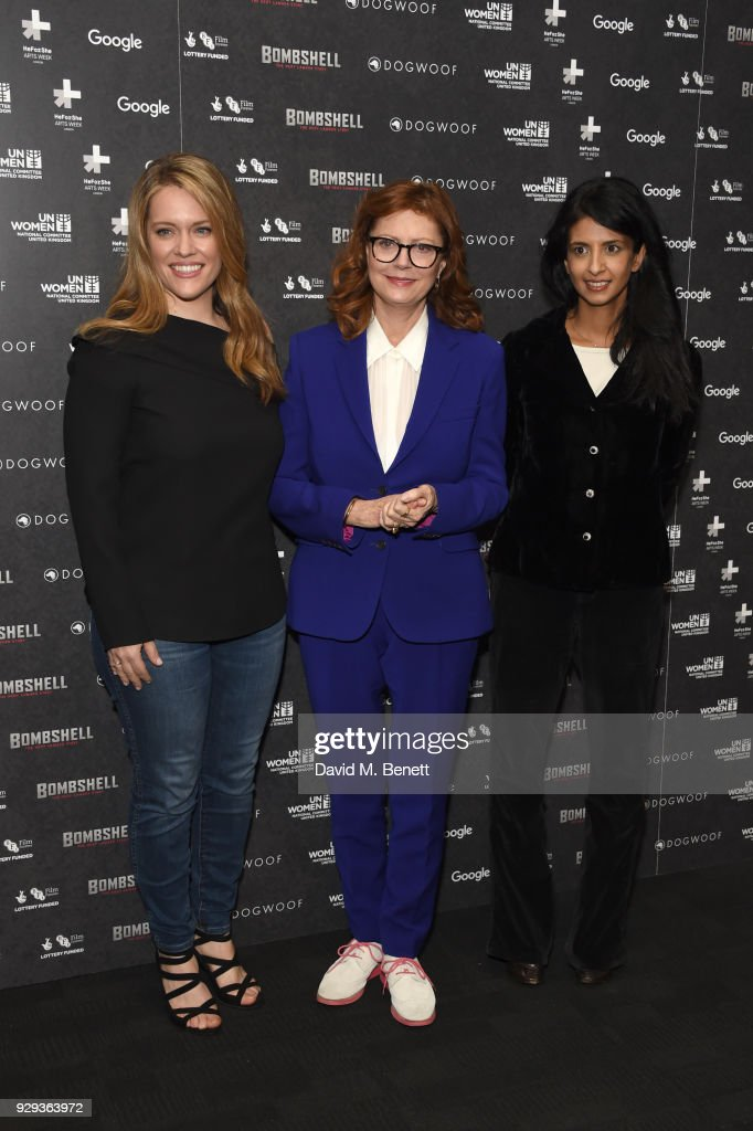 Alexandra Dean, Susan Sarandon and Konnie Huq attend a special screening of 'Bombshell: The Hedy Lamarr Story' at BFI Southbank on March 8, 2018 in London, United Kingdom.