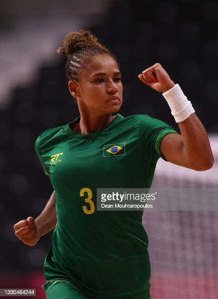 Alexandra Do Nascimento Martinez of Team Brazil celebrates after scoring a goal during the Women's Preliminary Round Group B match between ROC and...