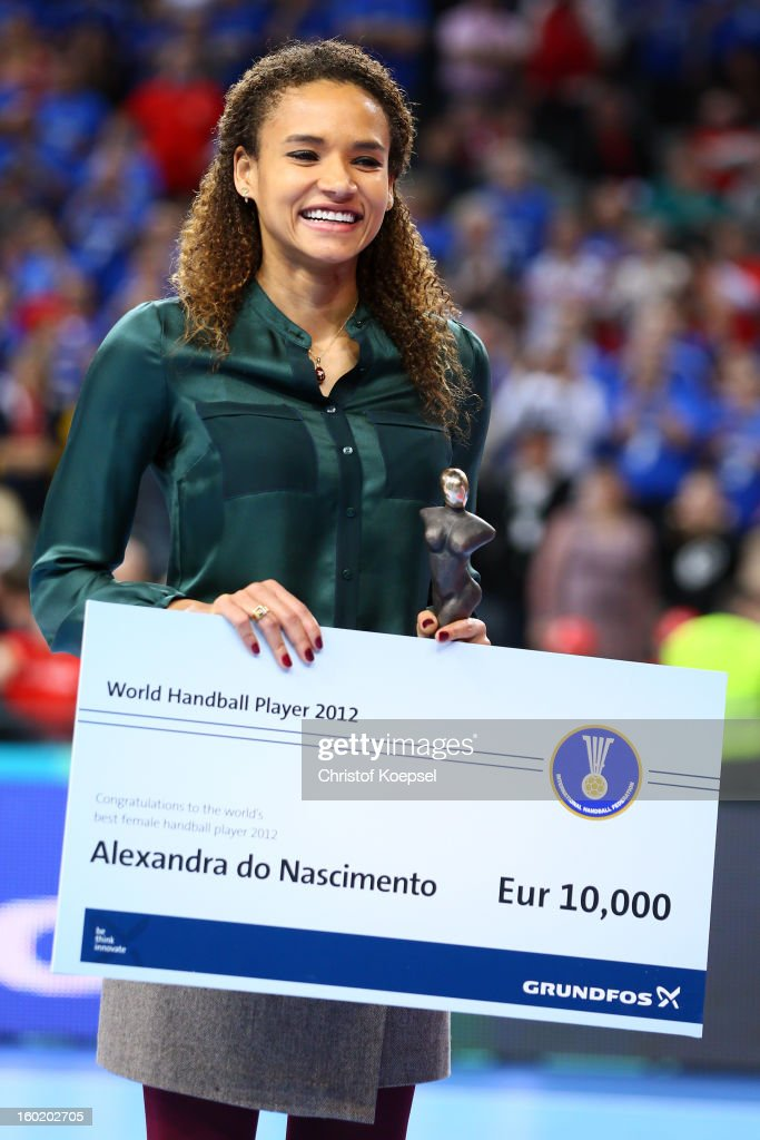 Alexandra do Nascimento of Brazil poses after being awarded as the handball player of the year during the Men's Handball World Championship 2013 final match between Spain and Denmark at Palau Sant Jordi on January 27, 2013 in Barcelona, Spain.