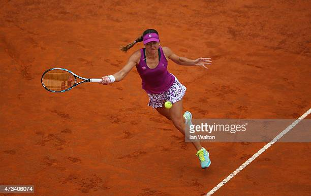 Alexandra Dulgheru of Romania in action during her match against Simona Halep of Romania on Day Six of the The Internazionali BNL d'Italia 2015 on...